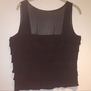 Lillie Ruben Black Chiffon and Sequin Tank Size 10